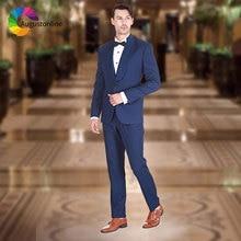 купить Navy Blue Groom Tuxedo Men Suits for Wedding Wide Shawl Lapel Slim Fit Best Man Blazer Jacket 2Piece Pants Costume Homme Mariage по цене 4149.3 рублей
