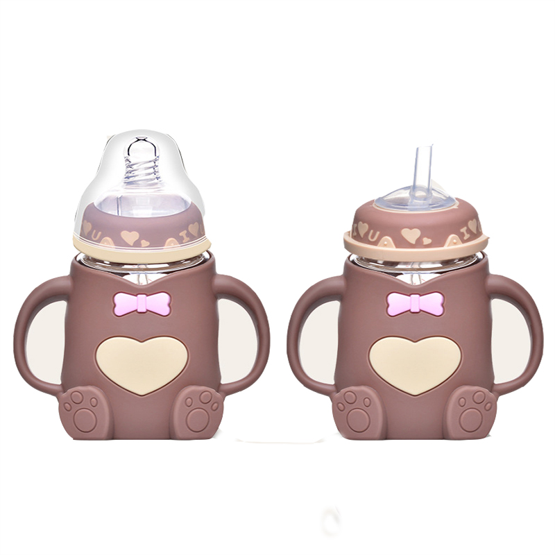 240ml Baby Kids infant Cup Silicone Sippy Children Training Cups Cute Baby Drinking Water Straw Handle learn drinkFeeding Bottle