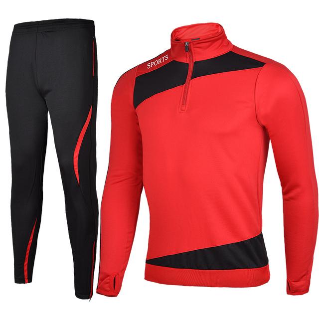 Men Winter Sport Running Survetement Football Set Long Jacket Suit Soccer Training Skinny Leg Pants Tracksuits Kits Sportswear