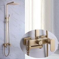 Матовый Золотой смеситель для душа набор полностью медный бытовой холодной и горячей для душа и ванной Supercharged шампанское золото