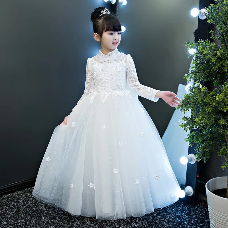 2018 Elegant Long Sleeves Children Girls White Lace Birthday Wedding Party Mesh Dress Kids Teens Flowers Bow Piano Costume Dress 2017 new high quality girls children white color princess dress kids baby birthday wedding party lace dress with bow knot design