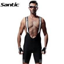 Santic Для Мужчин's шорты из дышащей ткани для велосипедных прогулок сетка велосипед Bib Shorts+ 4D Мягкий спандекс MTB шорты Bretelle