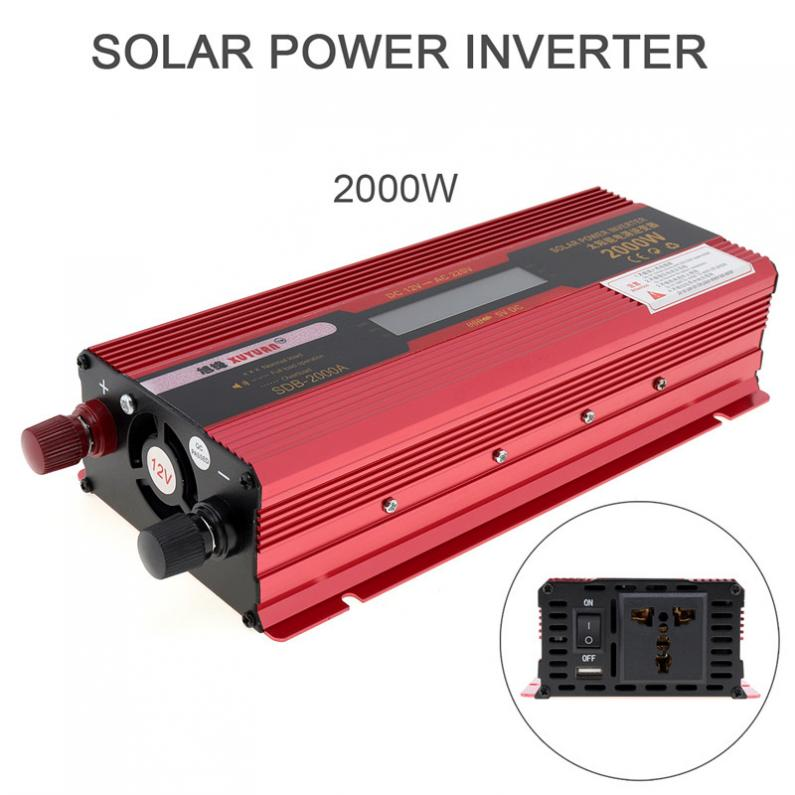 2000W 12V 24V to AC 220V 110V Aluminum Alloy Case Solar Power Car Inverter with LCD