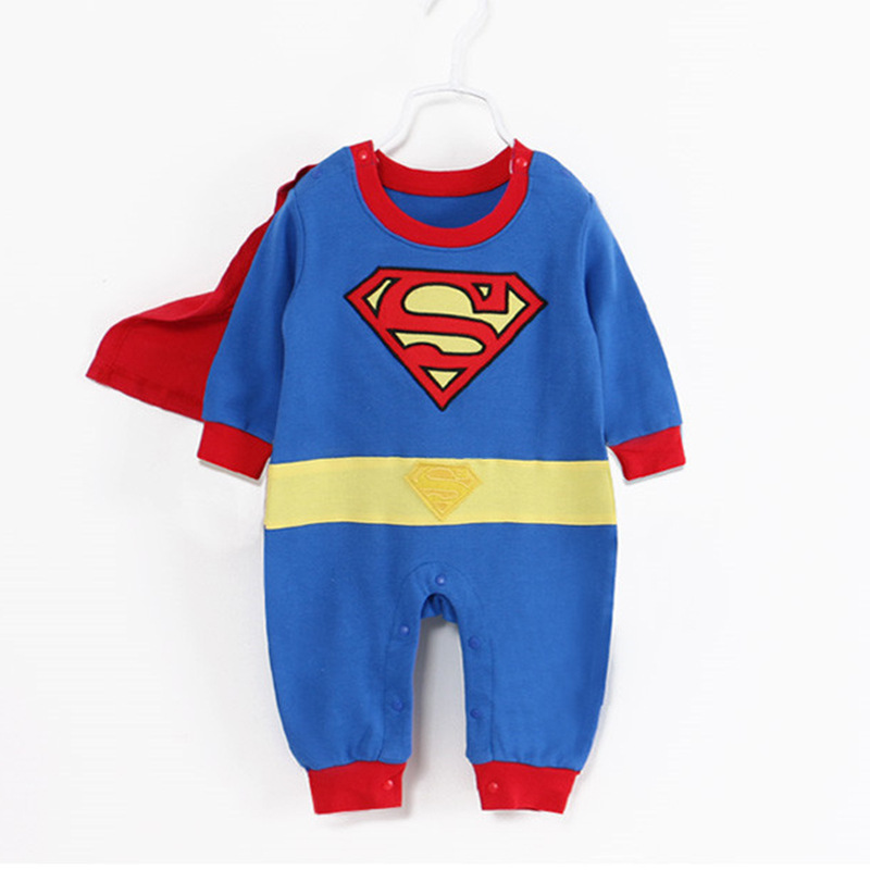 Cute Baby Cosplay Summer Newborn Costume Baby   Rompers   Superhero Superman Cotton Boy Girl   Rompers   Newborn Baby Clothes With cloak