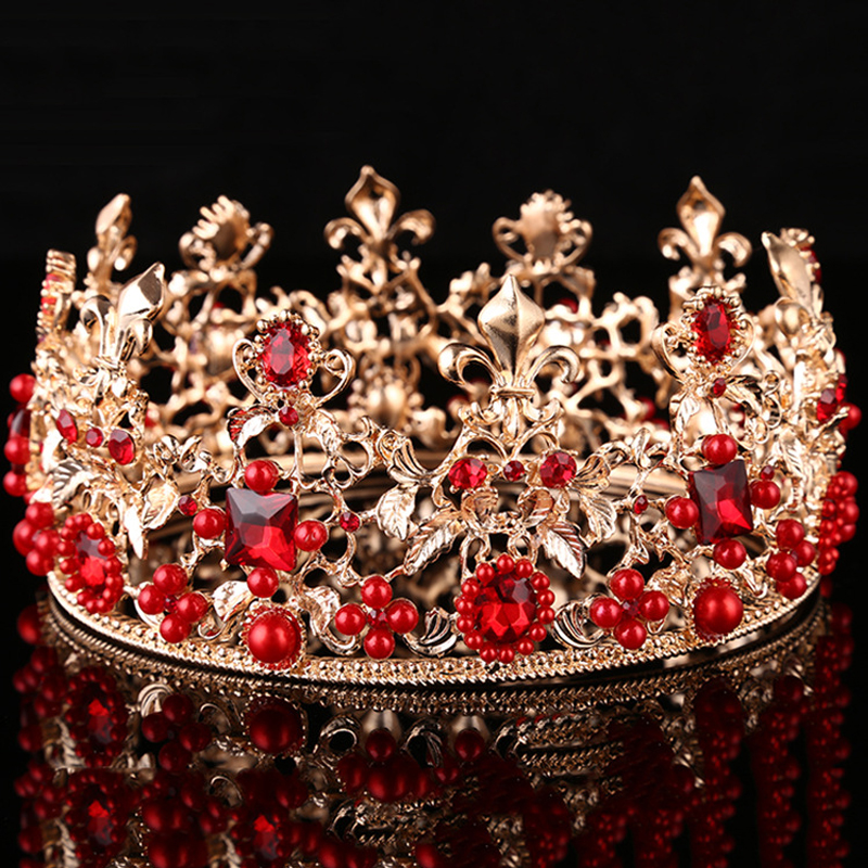 Adult Royal Crown King Queen Full Crowns Iris Pearls