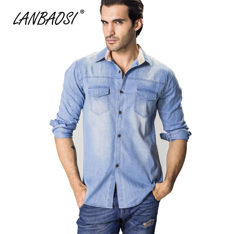 LANBAOSI 남성용 긴 소매 청바지 캐주얼면 데님 셔츠 남성 카우보이 탑스 진 의류 Camisa Chemise Plus 크기 6XL