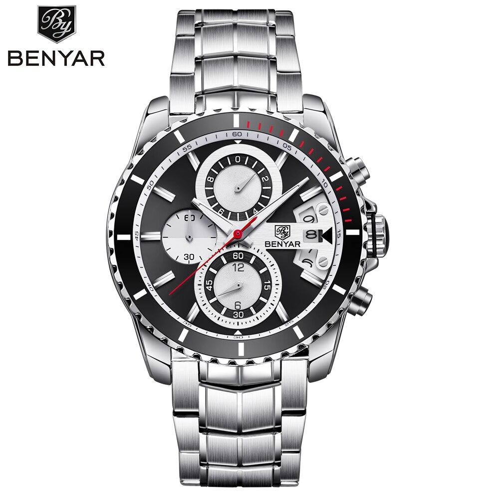 BENYAR Business Watch Men Chronograph Quartz Wristwatches Mens Dress Full Steel Waterproof Watches Male Clock relogio masculino