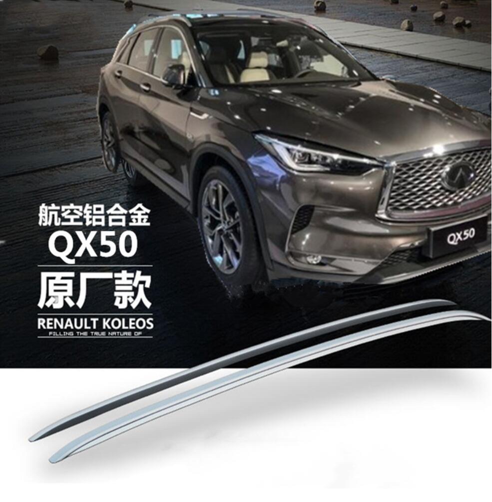 Pour Infiniti QX50 2018 2019 Aluminium alliage argent Top barres de toit Rack barres latérales décoration garniture accessoires de voiture