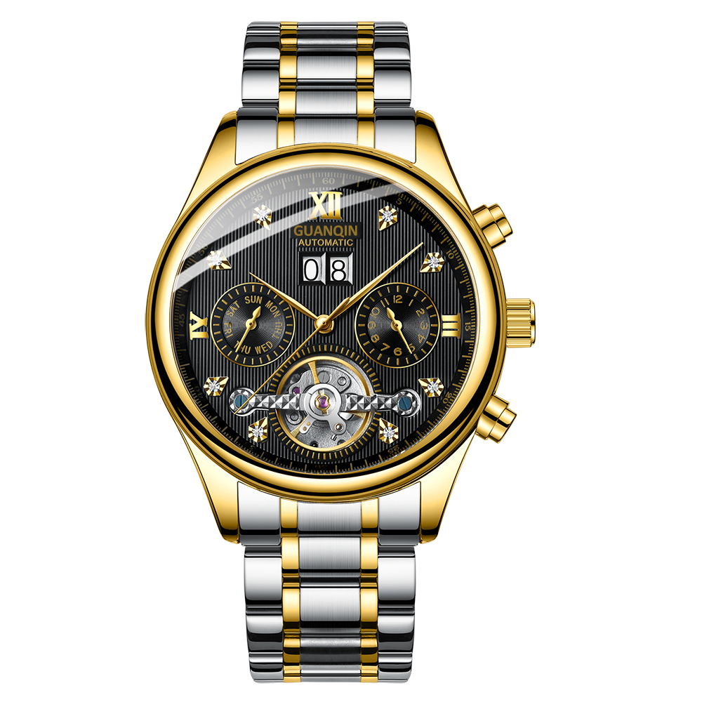 HTB1sV6Qah2rK1RkSnhJq6ykdpXal GUANQIN 2019 Automatic clock men Mechanical watch men Tourbillon waterproof top brand luxury dropshipping date relogio masculino