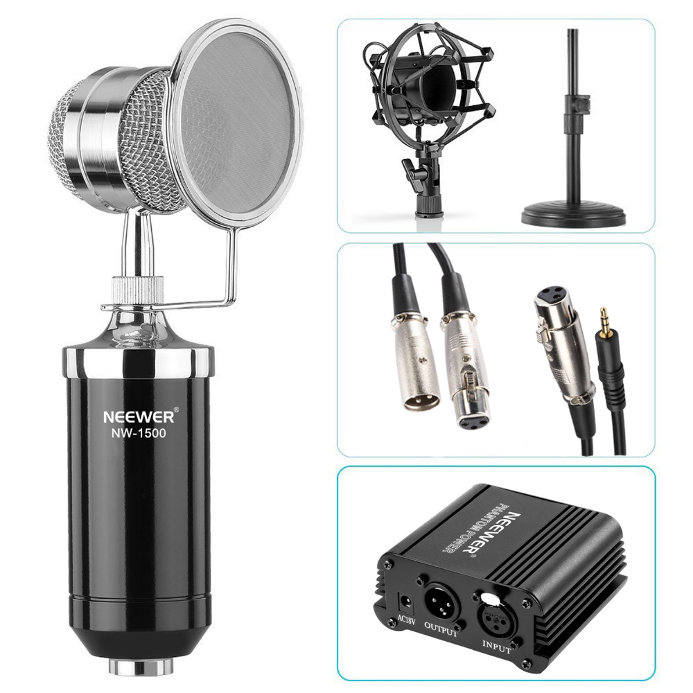 Neewer NW-1500 Microphone Kit Microphone with Iron Desk Stand Shock Mount and Pop Filter 48V Phantom Power Supply with Adapter neewer nw 700 condenser microphone kit black mic black 48v phantom power supply for home studio recording arm stand shock mount