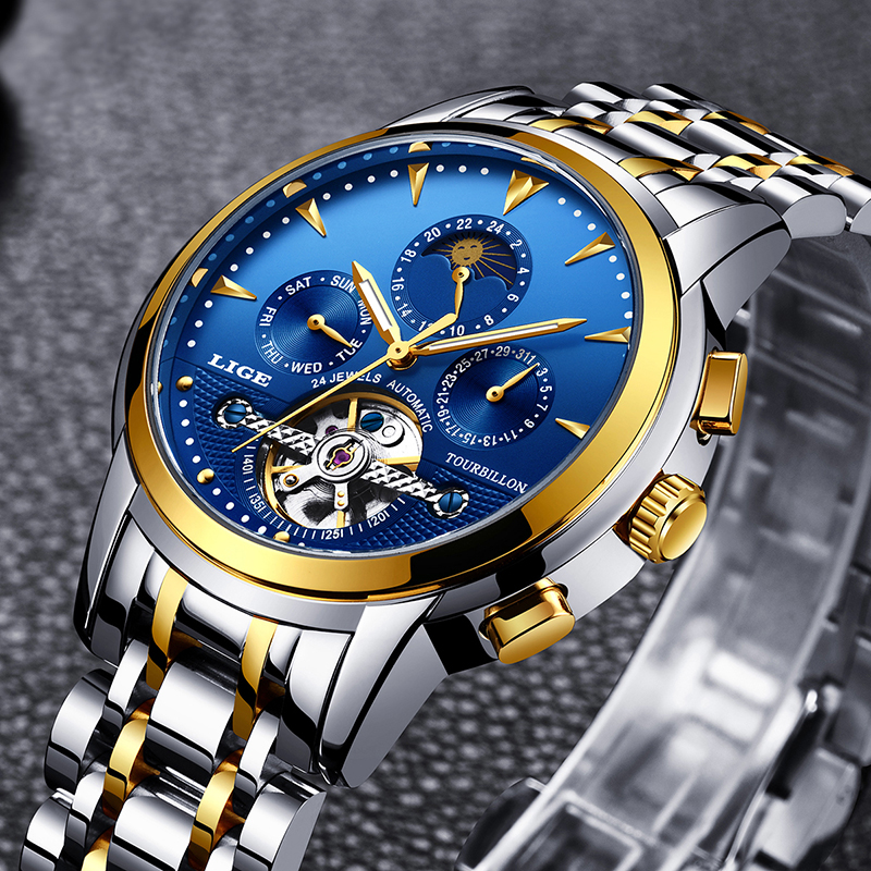 LIGE men watch top brand luxury automatic mechanical waterproof watches mens steel automatic date week Clock Relogio Masculino read brand tops automatic watches men minimalism luxury black watch men full steel relogio japan movement week and date 8082