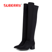 2016 Classic Ladies Fashion Flat Bottom Boots Women Winter Boots Over The Knee Thigh High Suede Long Boots Brand Designer 34-43