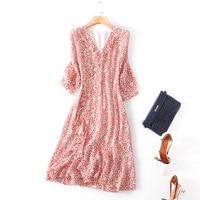 100% silk print v neck party dress 2018 new brand runway women spring summer dress high quality office lady a line dress