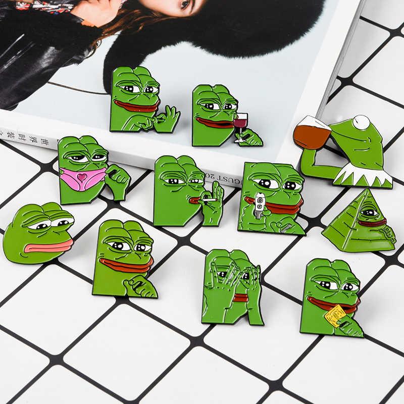 Грустная лягушка эмали штырь лягушка Pepe Броши 11 видов стилей забавные мультипликационные животные шпильки значки значок на лацкан с персонажами из мультфильмов, ювелирное изделие в подарок для друзей