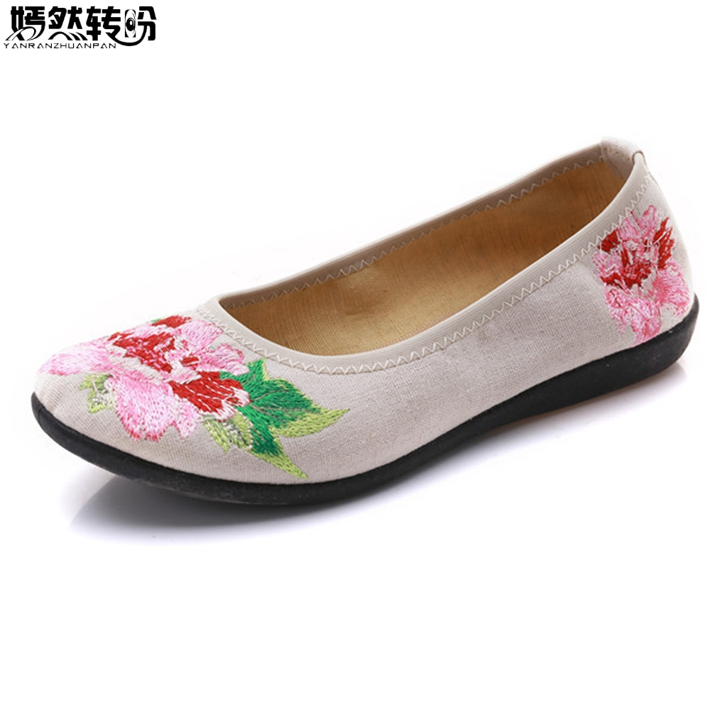 2018 New Vintage Women Embroidery Flats Floral Cotton Comfortable Old Peking Ballerina Shoes Woman Sapato Feminino Loafers plus size 42 vintage embroidered women shoes flats old peking flower embroidered canvas linen shoes sapato feminino ballet shoes