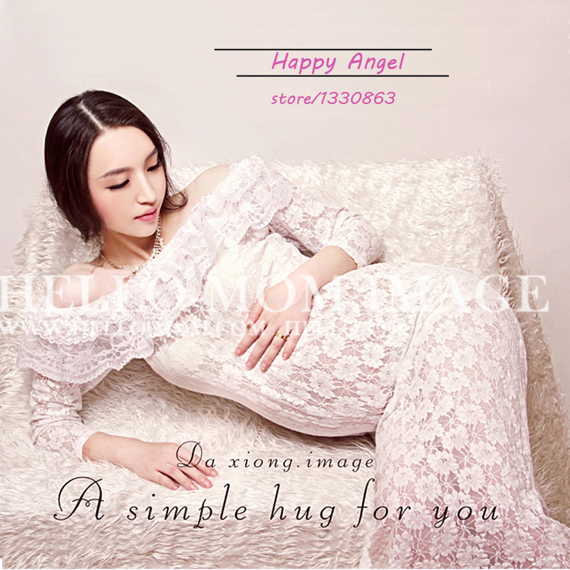 2015 New  clothing for pregnant women Photography Props Chiffon Dress Pregnancy Pure white  Romantic set Princess Free shipping