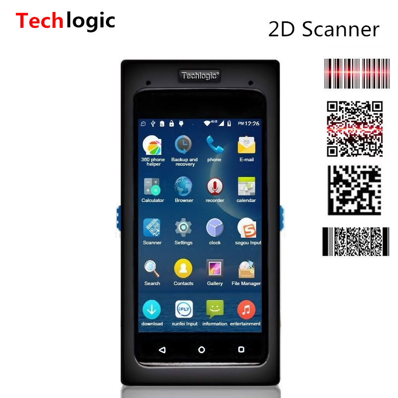 Techlogic Wireless Data Terminal Barcode Scanner Android Full screen Bar Code Scanner Handheld Barcode Reader PDA Bar Code Gun handheld wireless usb data collector handheld barcode scanner reader laser bar code pos terminal for supermarket store warehouse