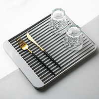Double drain tray plastic rectangular rack tea tray fruit plate dish storage rack