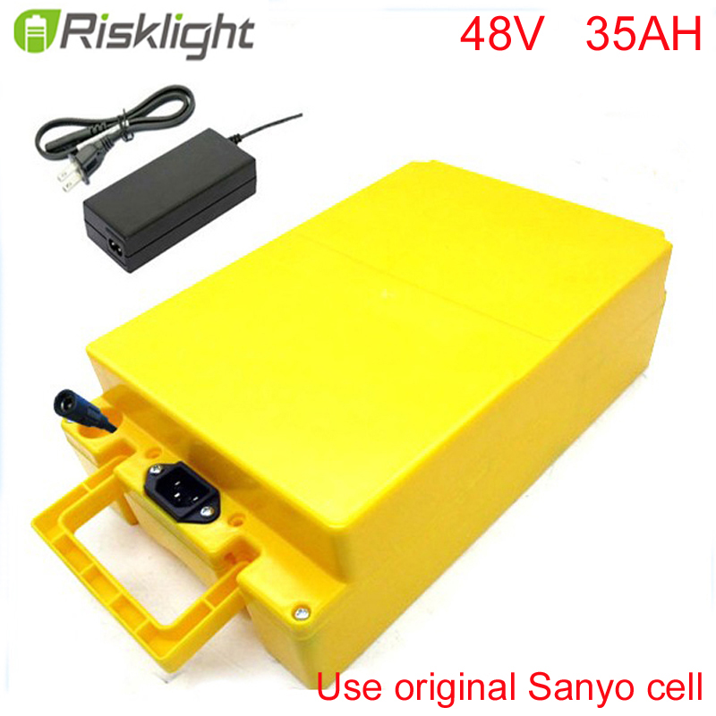No taxes DIY 48V 35Ah rechargeable Elecric Bike Batteries 48Volt 1400Watt Electric Scooter Battery Packs For Sanyo cell free customs taxes 60v 30ah high power rechargeable 26650 battery pack 60 volt 3000w lithium battery for solar system ups