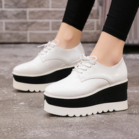 Platform shoes thick soled casual shoes female 2018 autumn new British wind with a single shoes wild students white shoes
