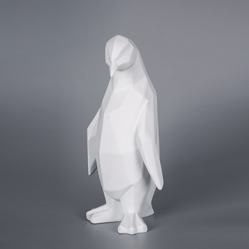 Modern Abstract Resin Penguin Statues Sculpture Geometric Resin Penguin Animal Statue Home Decor Creative Gifts Craft Ornament