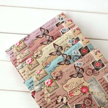 50*70cm Vintage butterfly flower Linen Cotton Handmade Fabric for Sewing  Home Textiles Table