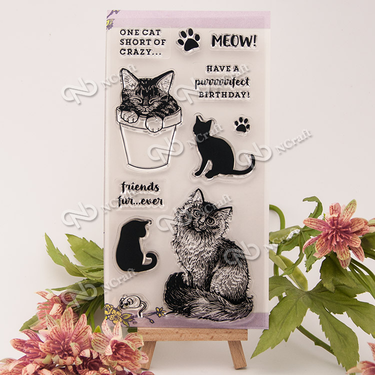 1 Sheet cat Transparent Clear Silicone Stamps for DIY Scrapbooking/Card Making/Kids Fun Decoration Supplies Flower large 24x24 cm simulation white cat with yellow head cat model lifelike big head squatting cat model decoration t187