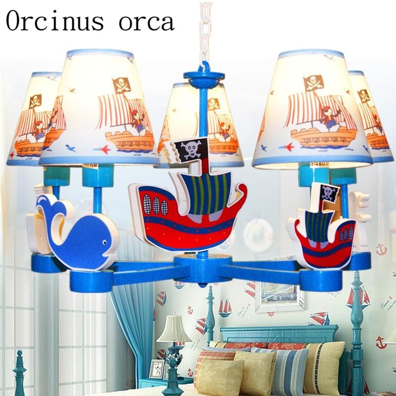 Mediterrâneo navio pirata Americano Lustre lustre quarto sala de estudo sala dos meninos Moda Azul das crianças frete grátis