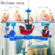 Mediterranean American pirate ship childrens chandelier bedroom study boys room Fashion Blue Chandelier free shipping