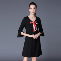 2017 Autumn Outfit New European And American Large Size Women S Dress Pure Color Bow Tie