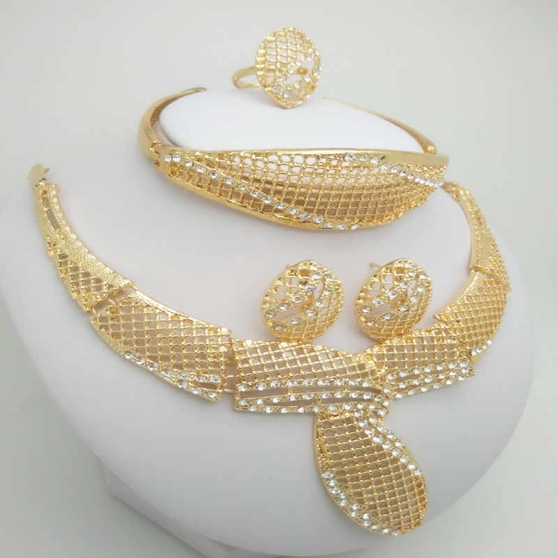 2018 ניגרי חתונה אפריקאית חרוזים תכשיטי סט מותג אישה אופנה דובאי זהב צבע תכשיטי סט ניגרי חתונה כלה Bijoux