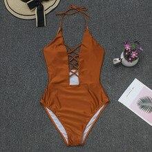 Сексуальный сдельный купальник, женский бикини, повседневный коричневый Одноцветный купальник, Модный летний пуш-ап купальник, пляжная одежда