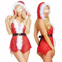 Christmas fun Exotic Dresses adult deep V perspective net yarn Christmas girl playing with cap suit