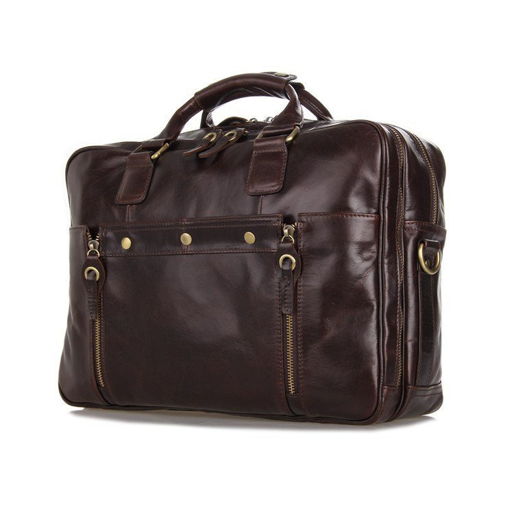 Perfect Quality Vintage 100 Real Genuine Leather men Messenger bags business portfolios briefcase 14 Laptop bag