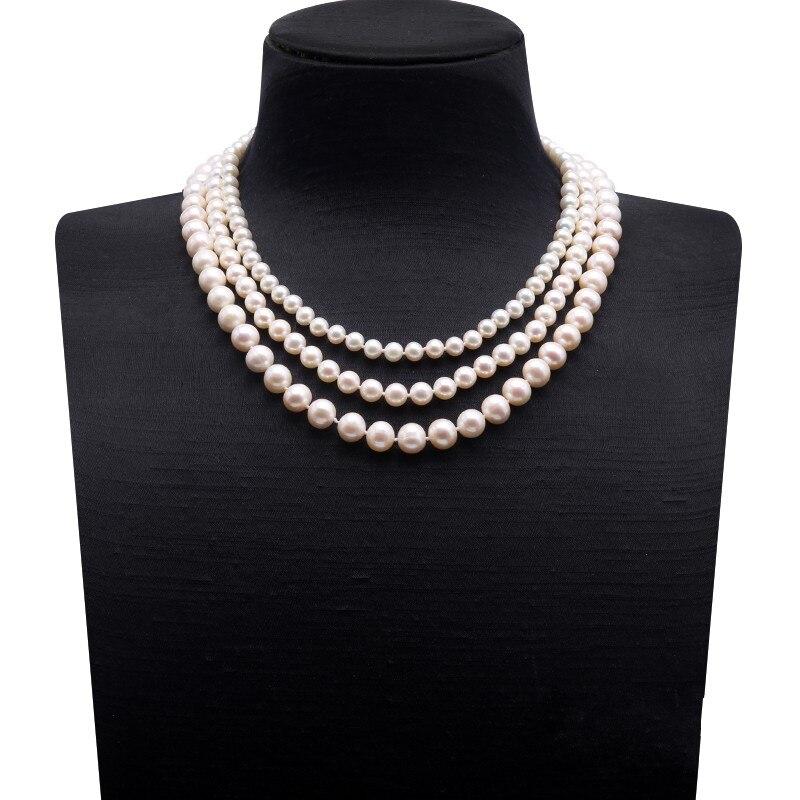 Collier de perles naturelles Triple brin collier de perles deau douce rondes blanches multi-tailles 18Collier de perles naturelles Triple brin collier de perles deau douce rondes blanches multi-tailles 18