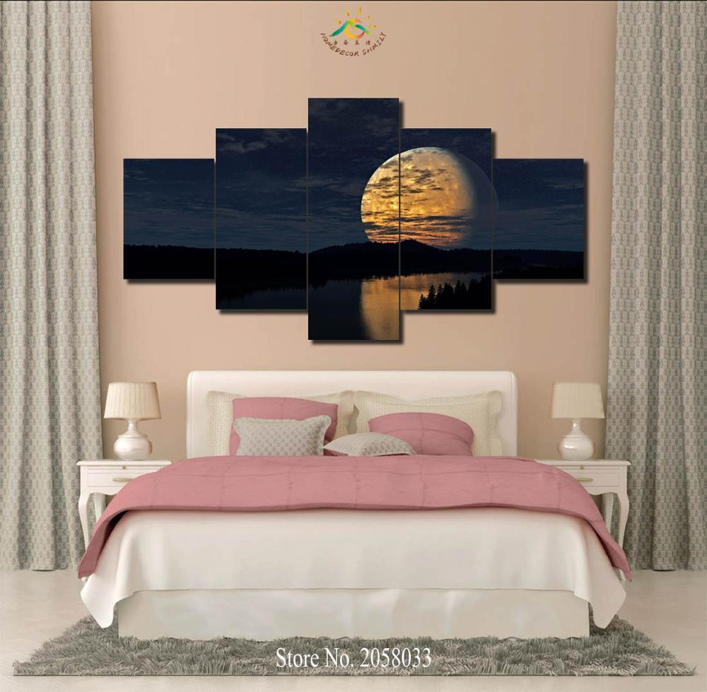 3-4-5 Pieces Big Moon Light Modern Wall Art Pictures HD Printed Canvas Painting Modular Pictures HD Paints Home Decoration