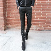 Winter Warm PU Leather Pants Men Fashion 2017 Spring Slim Fit Casual Man Pants Korean Skinny