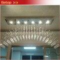 Mejor precio Modern K9 candelabros de cristal arqueado techo del rectángulo de la lámpara llevó el accesorio de iluminación Light de la cortina cristal