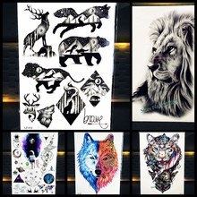 Cool Bear Beast King Waterproof Temporary Tattoo Indian Lion Warrior Fake Flash Men Tattoo Sticker 21x15CM