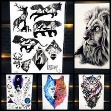 Oso fresca Bestia Rey León Guerrero Indio Flash Falsos Hombres Tatuaje Impermeable Tatuaje Temporal Etiqueta 21×15 CM de Las Mujeres Tatuaje de henna