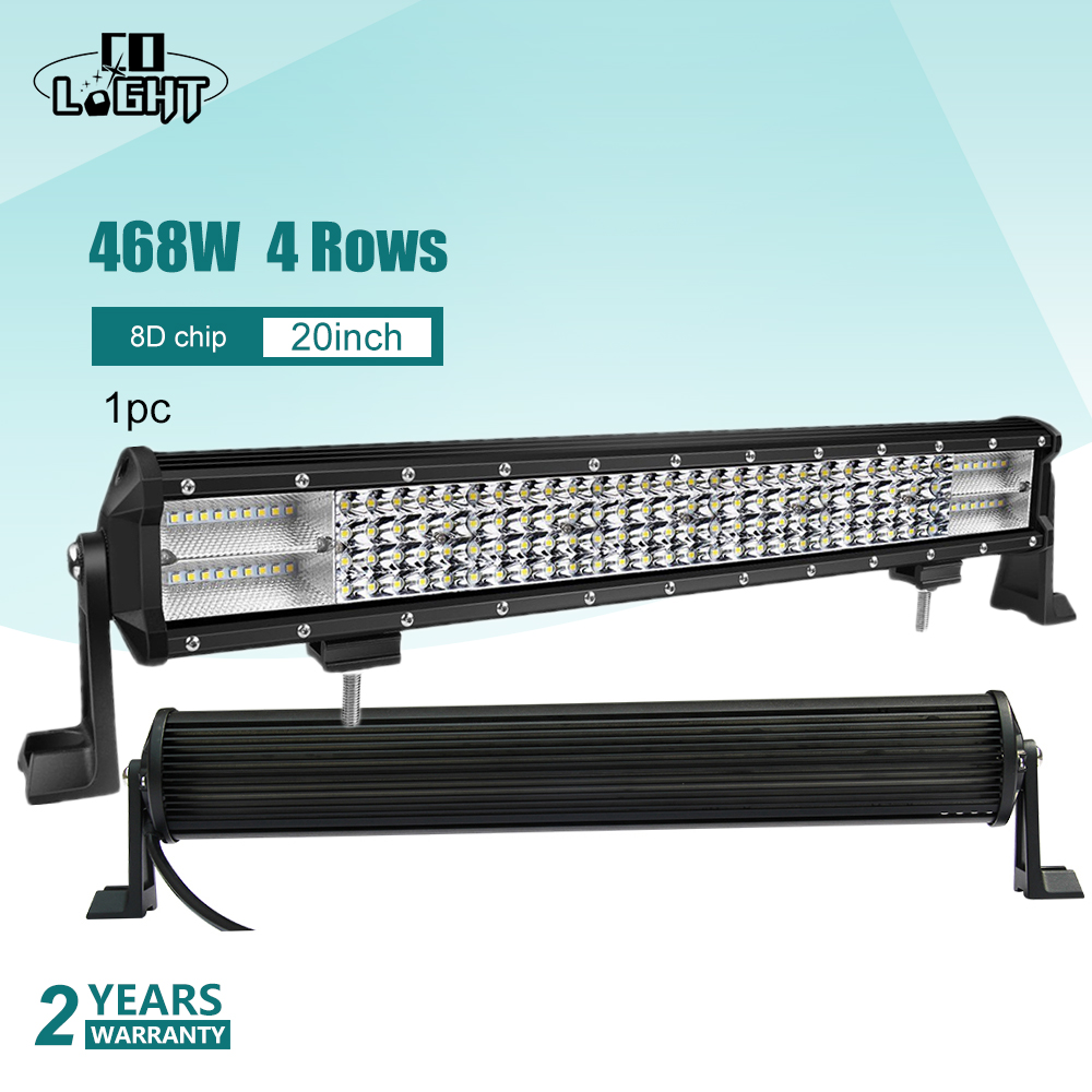 CO LIGHT Led Bar Offroad 20 Additional Lights 468W Auto Light 8D Combo Car Led Straight for 4X4 Lada 2114 Uaz Jeep SUV TractorCO LIGHT Led Bar Offroad 20 Additional Lights 468W Auto Light 8D Combo Car Led Straight for 4X4 Lada 2114 Uaz Jeep SUV Tractor
