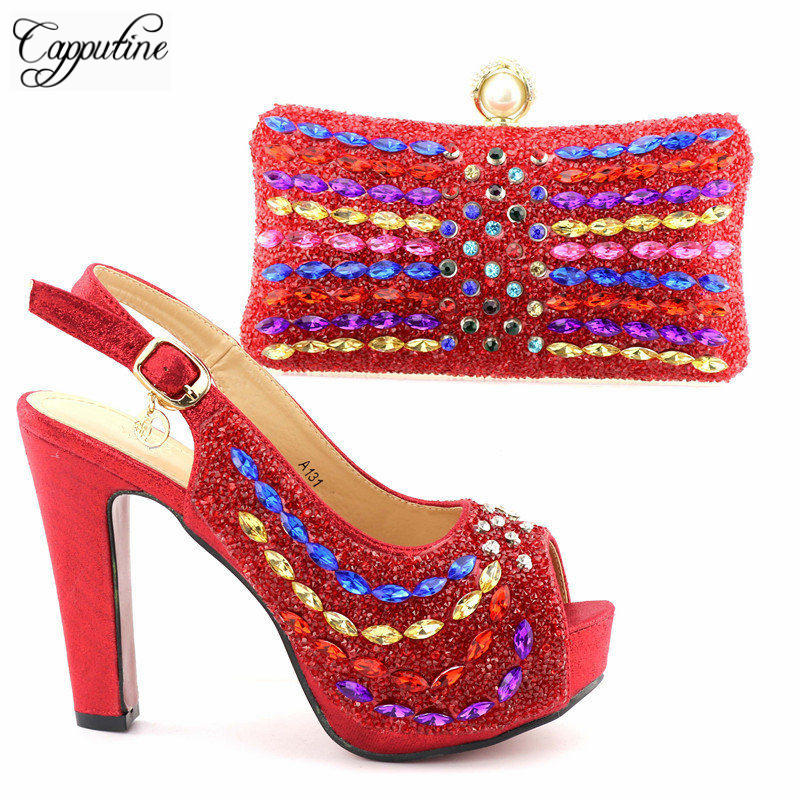 Capputin New Arrival Red Color Italian Shoes With Matching Bags Set High Quality African Pumps Shoes And Bag Set For Party new fashion italian shoes with matching bags for party high quality african shoes and bags set with stones pumps shoes 1308 l60