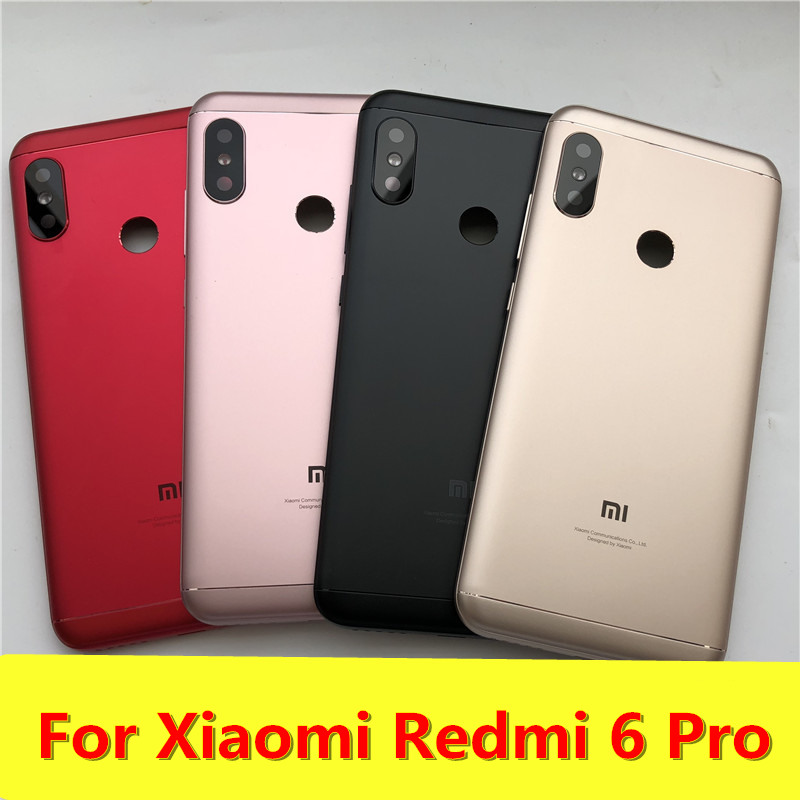 New For Xiaomi Redmi 6 Pro Spare Parts Back Battery Cover + Side Buttons + Camera Flash Lens Replacement Free Shipping