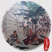 Chinese Poet Play Piano Good Time Parasols Bamboo Paper Craft Umbrella China Traditional Dance Color Parasol