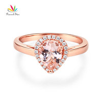 Peacock Star 14K Rose Gold Wedding Engagement Ring Pear Morganite 0 11 CT Natural Diamonds