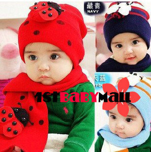 [1st Baby Mall] Retail 1set baby hat+scarve sets baby beatle/ladybug cotton caps 3 colors M-BH-012