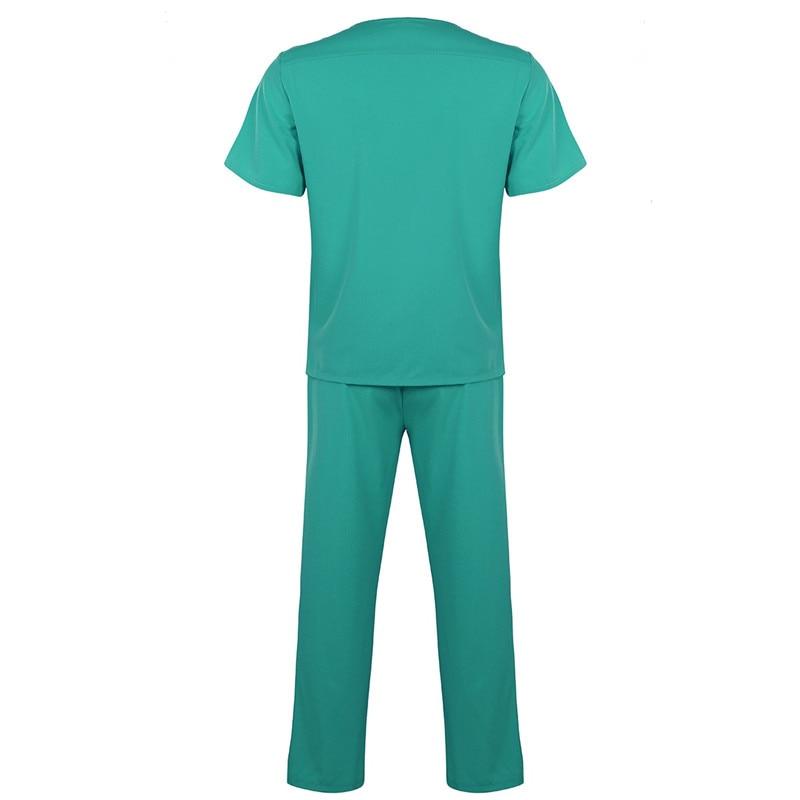 Image 2 - Adultes hommes médecin Scrubs soins infirmiers uniformes Costumes manches courtes haut et élastique taille longue pantalons unisexe laboratoire infirmière Costumes 2 piècesInfirmière Uniforme   -