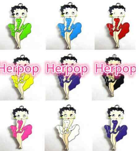 New lot 10Pcs Popular Dance dress Betty Boop color mix Necklace Key chain earrings Metal Charm Pendants Jewelry Making