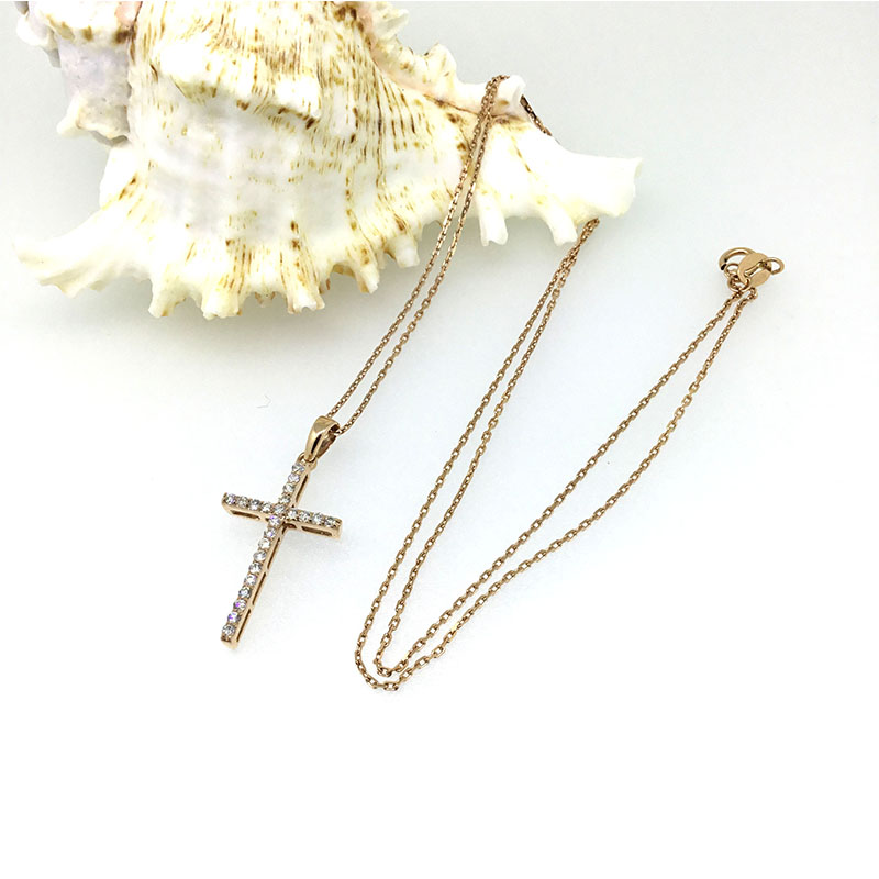 ANI 14K Rose Gold AU750 Wedding Pendant 0 247 ct I J SI Real Natural Diamond Three Color for Women Cross Pendant Necklace in Pendants from Jewelry Accessories