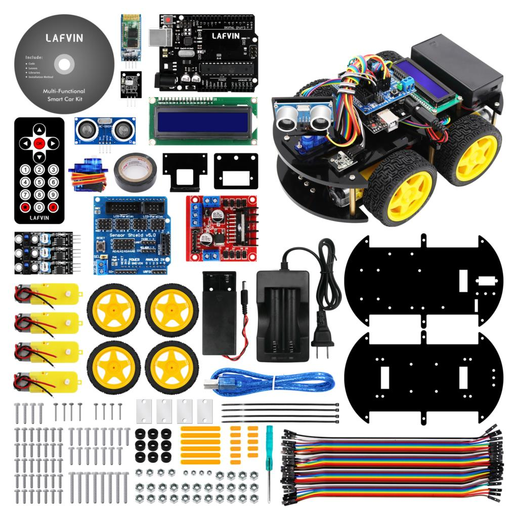 LAFVIN Multi functional Smart Robot Car Kit for UNO R3 Ultrasonic Sensor Bluetooth Module for Arduino
